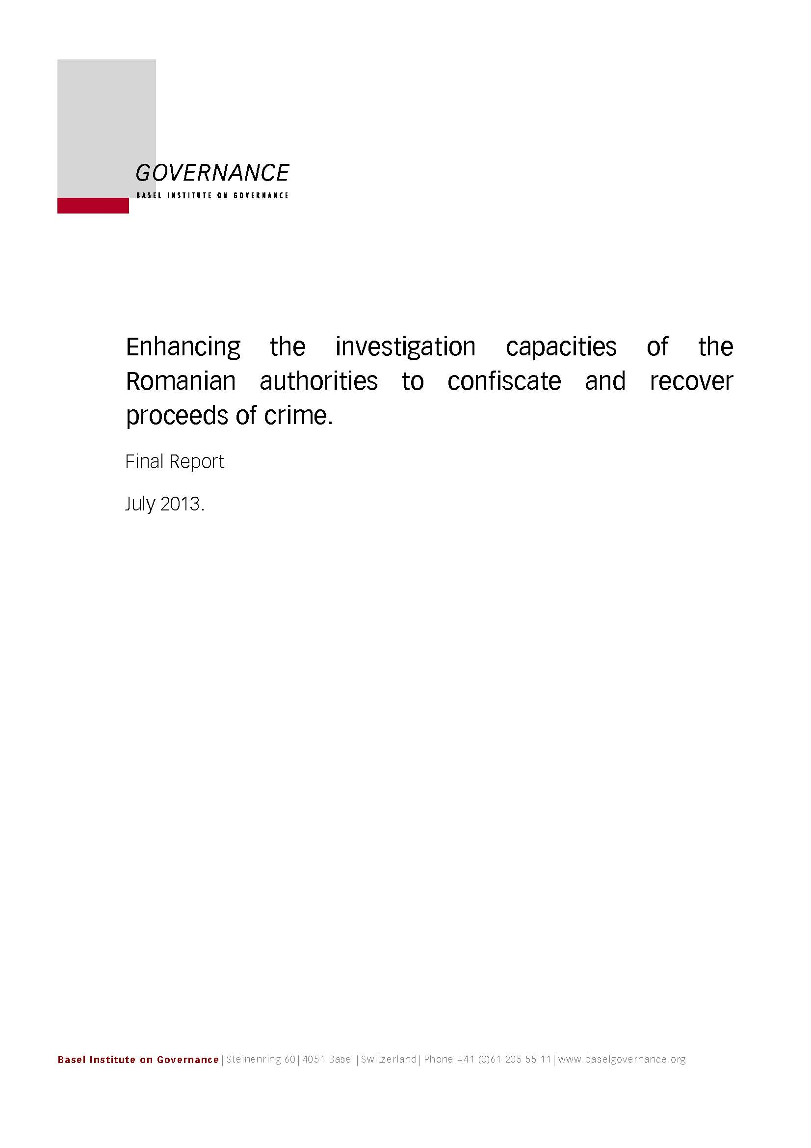 Cover page of Enhancing the Investigation Capacities of the Romanian Authorities report