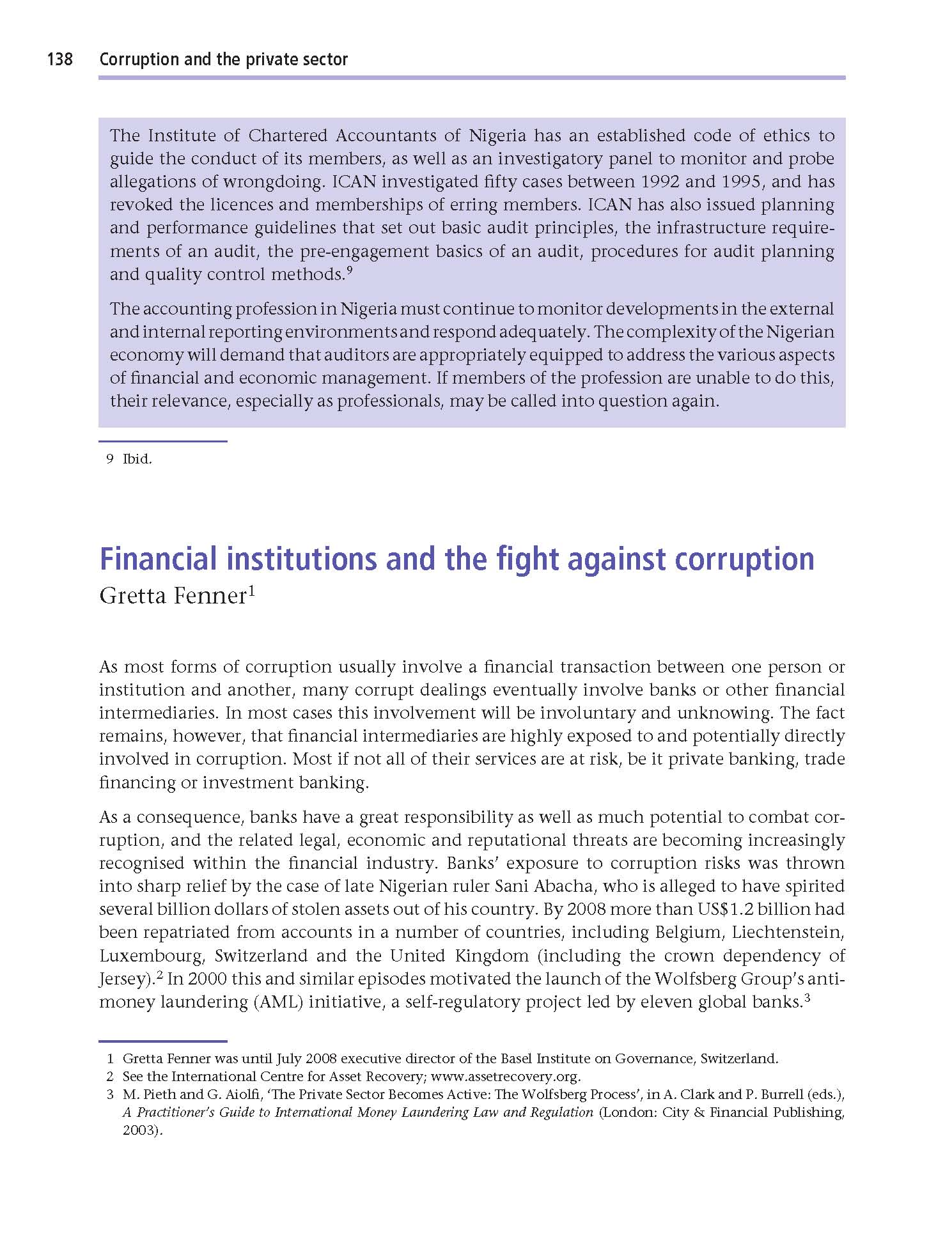 Page of TI Global Corruption Report