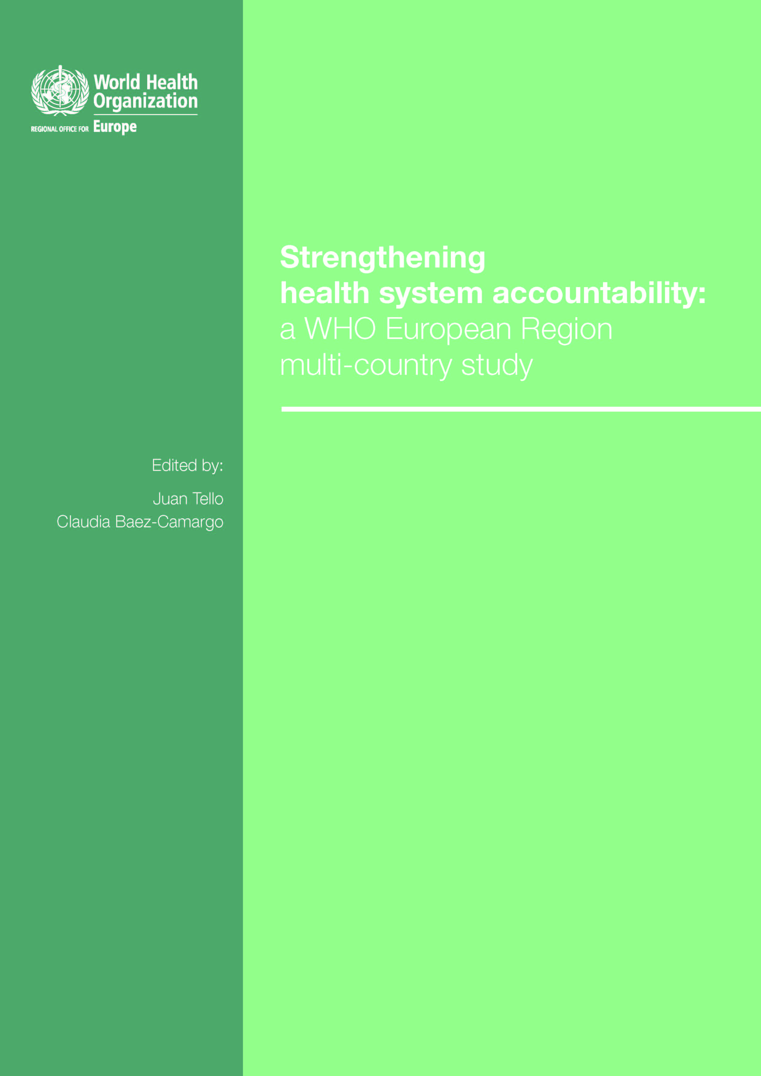 Cover of Strengthening Health System Accountability report