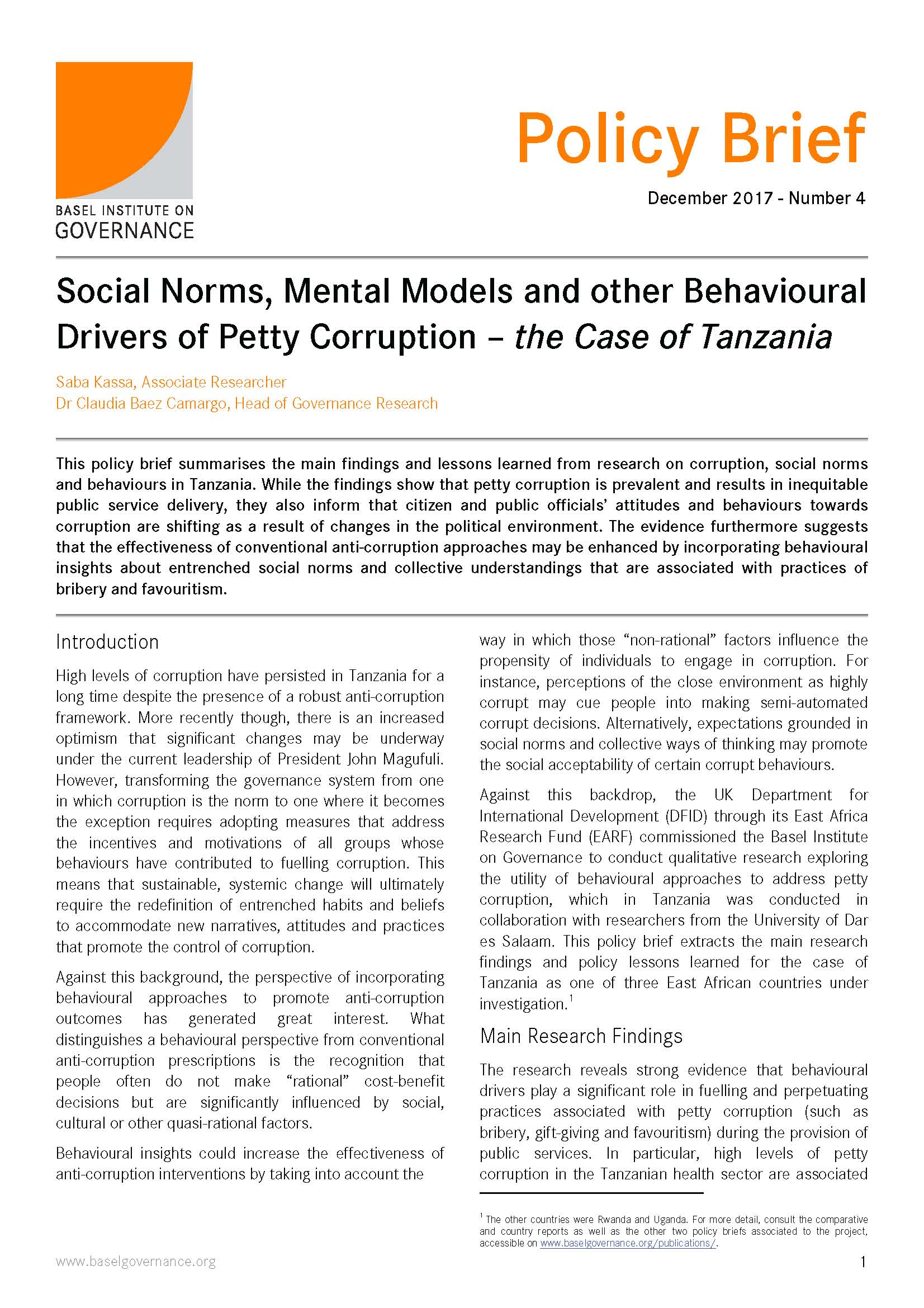 First page of Tanzania policy brief
