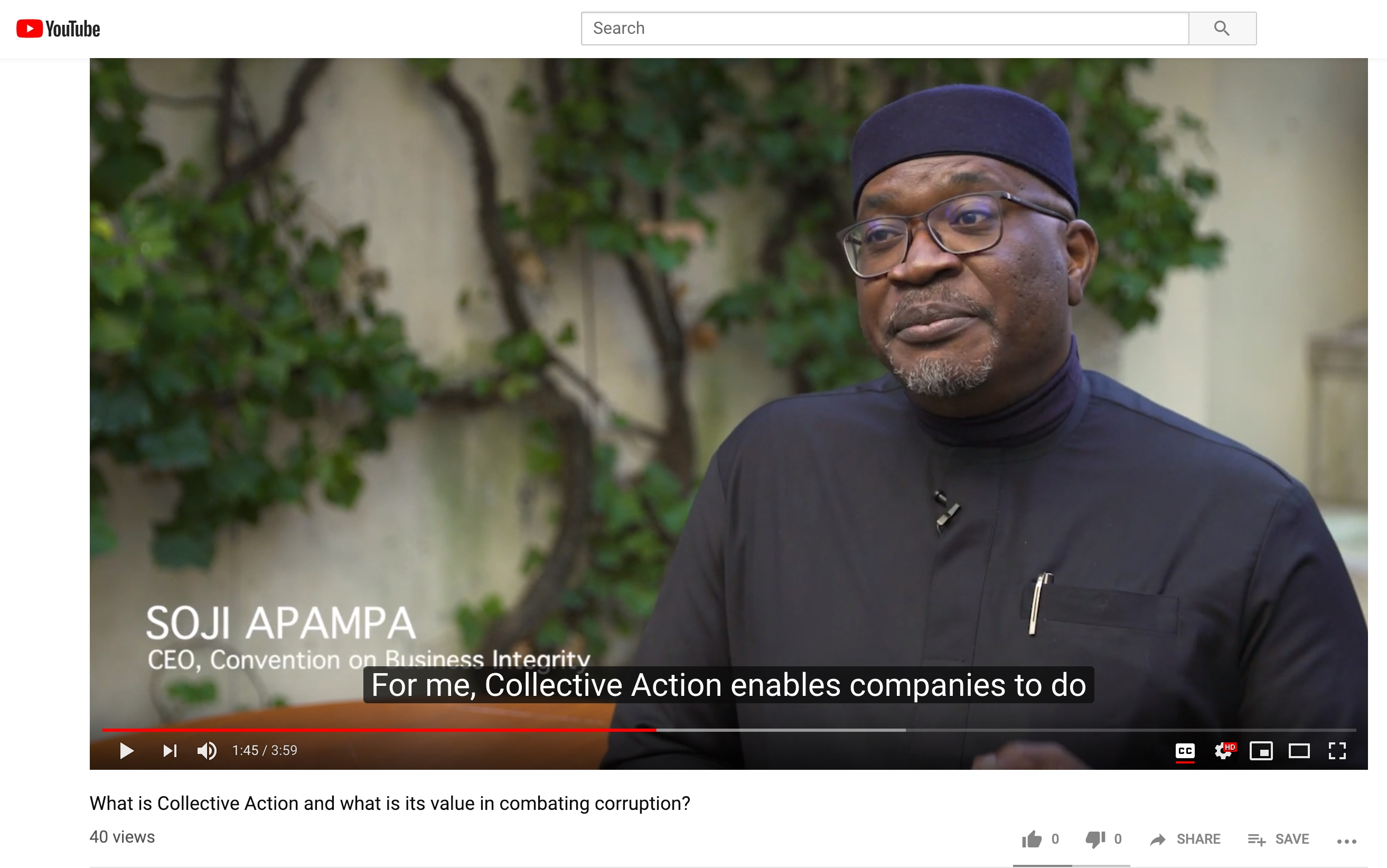 Screenshot of Soji Apampa on YouTube