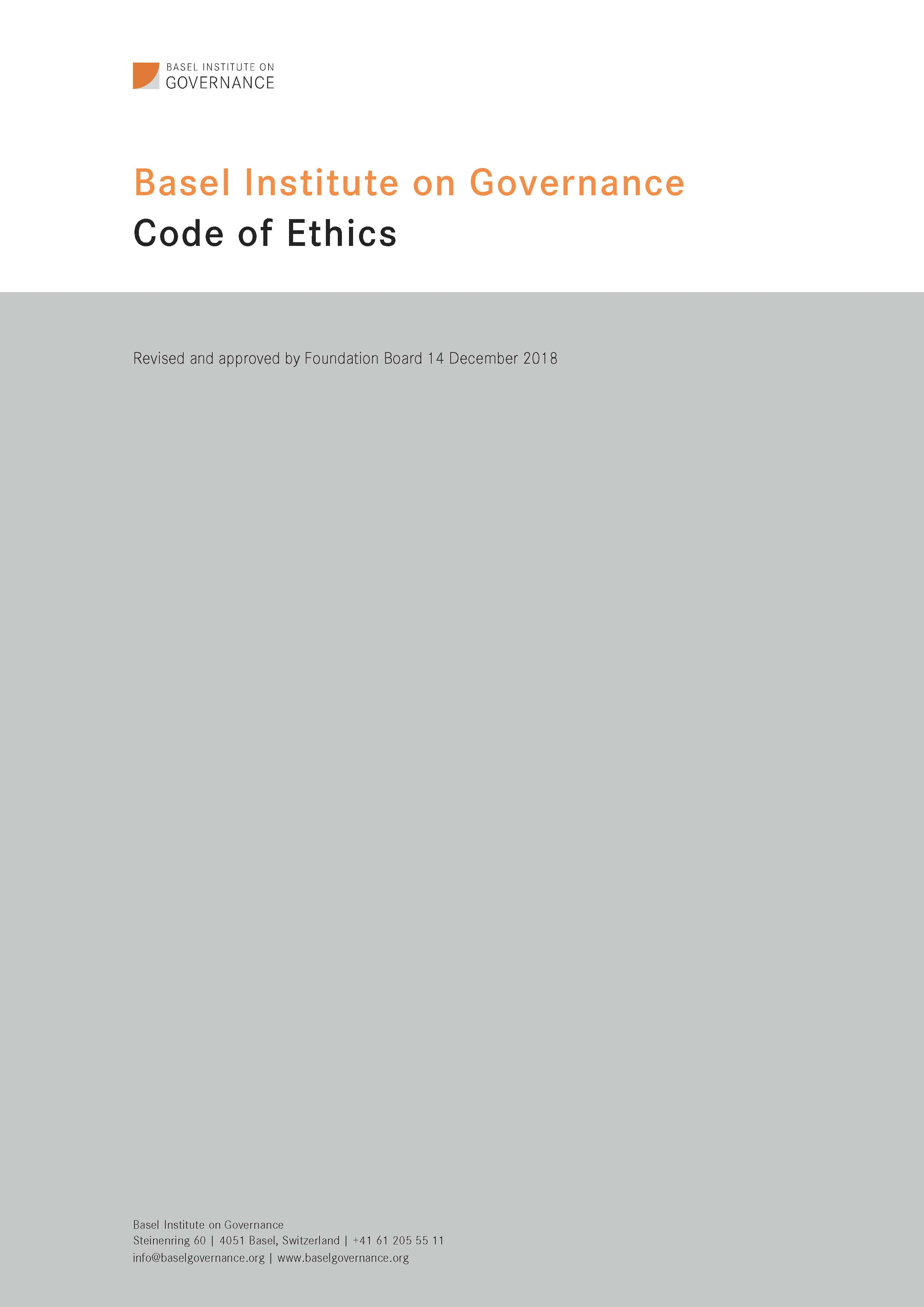 Code of Ethics front cover