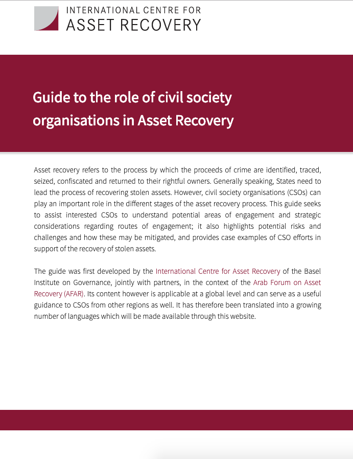Screenshot of CSOs in asset recovery page