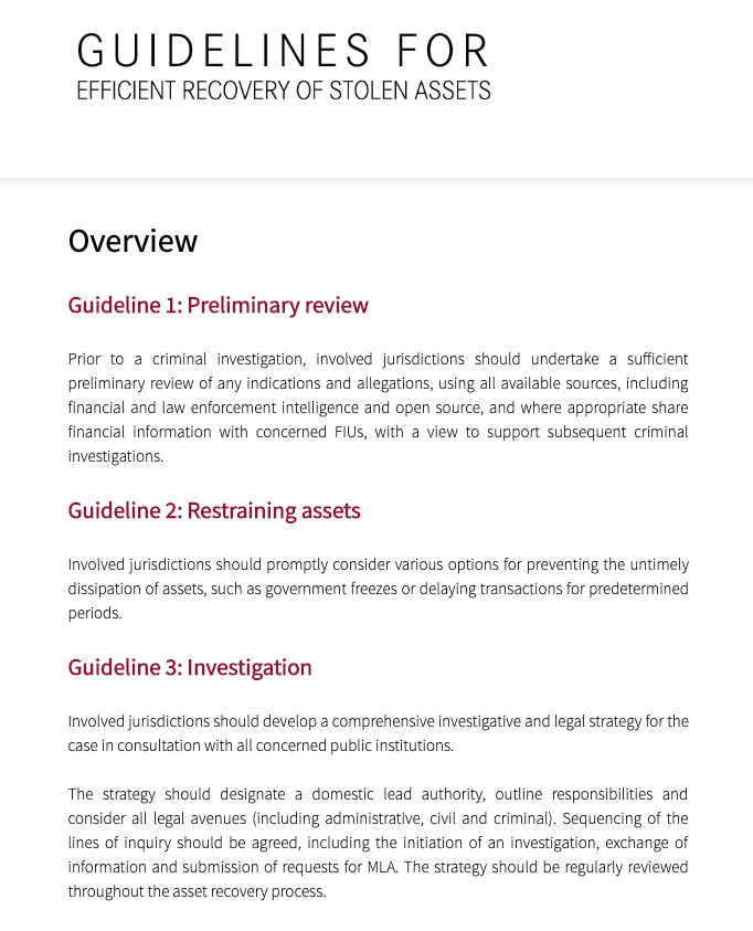 Screenshot of Guidelines for stolen assets website