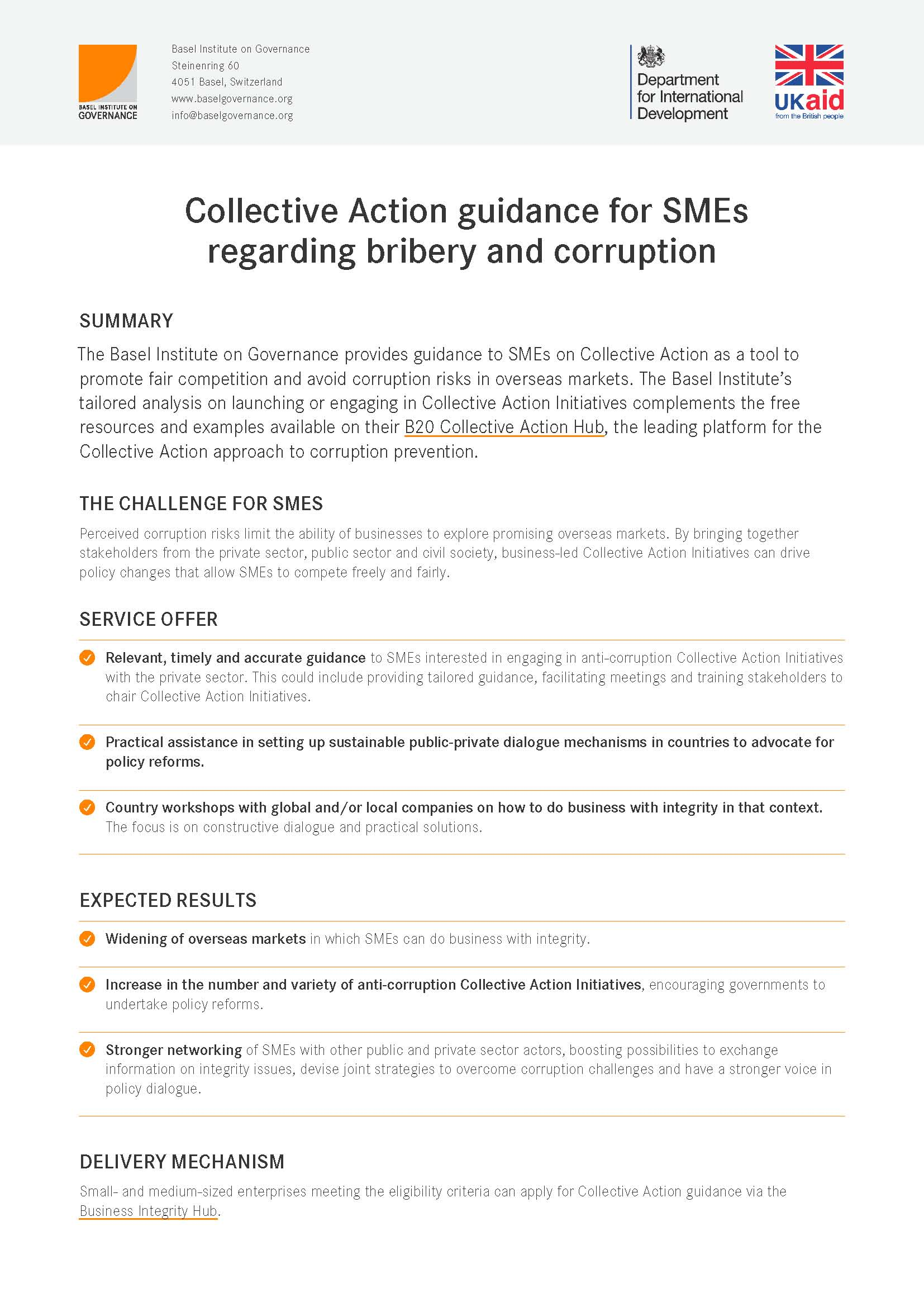 Collective Action guidance for SMEs