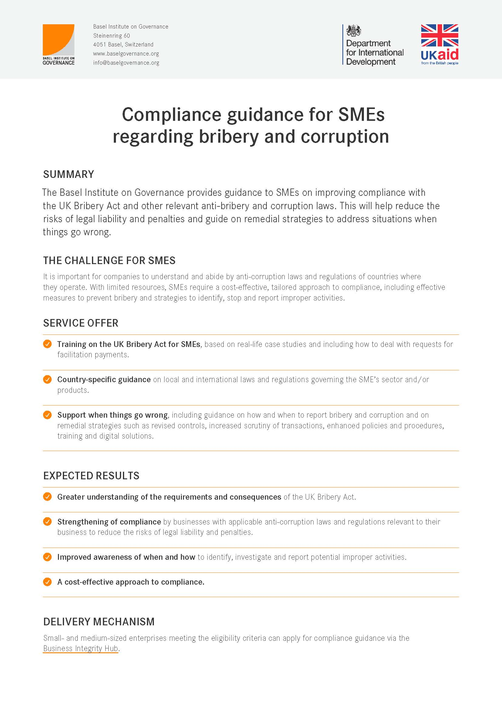 Compliance guidance for SMEs