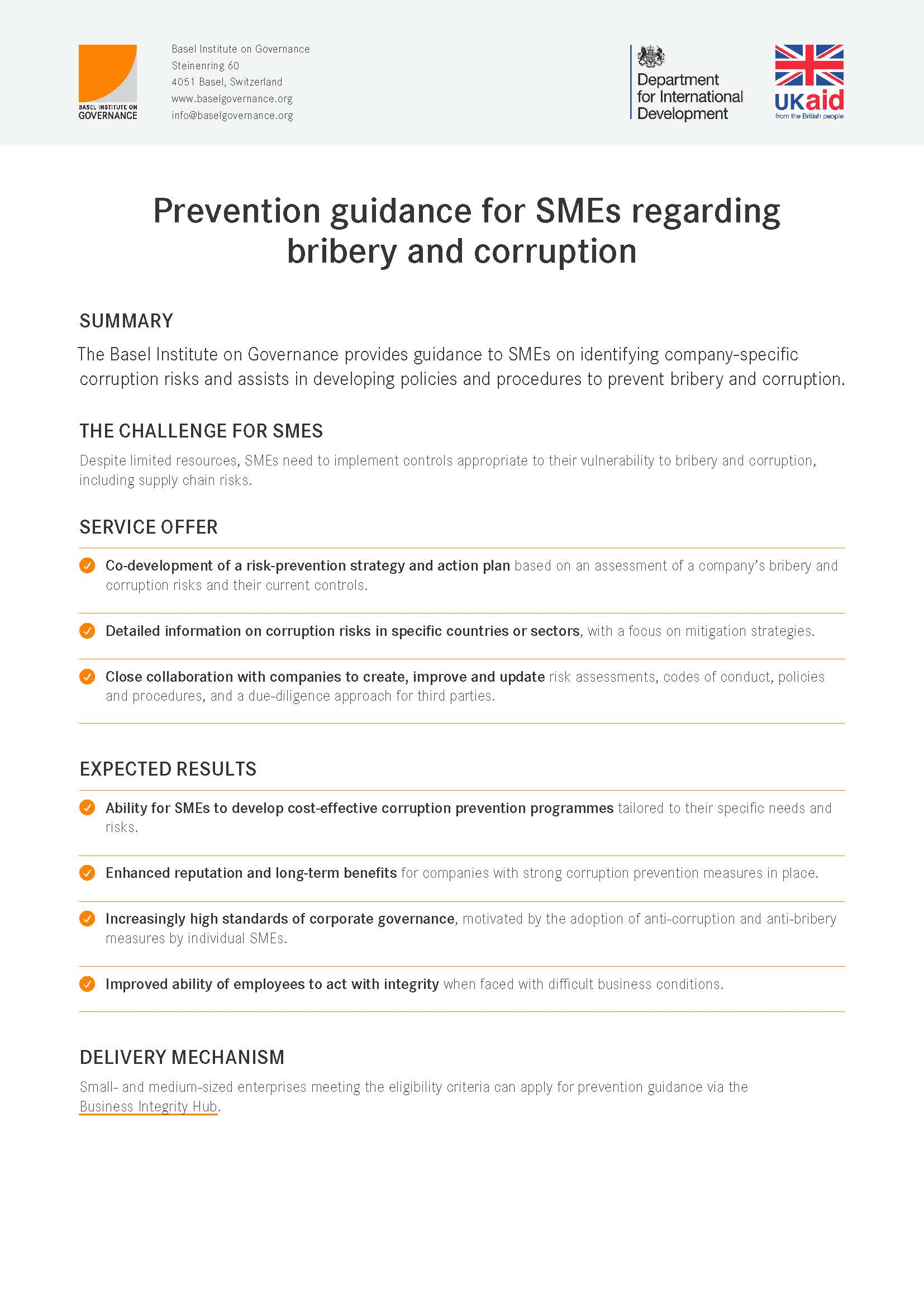 Prevention guidance for SMEs