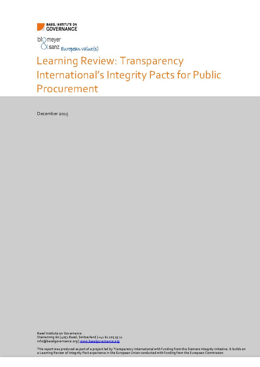 Integrity Pacts learning review cover page
