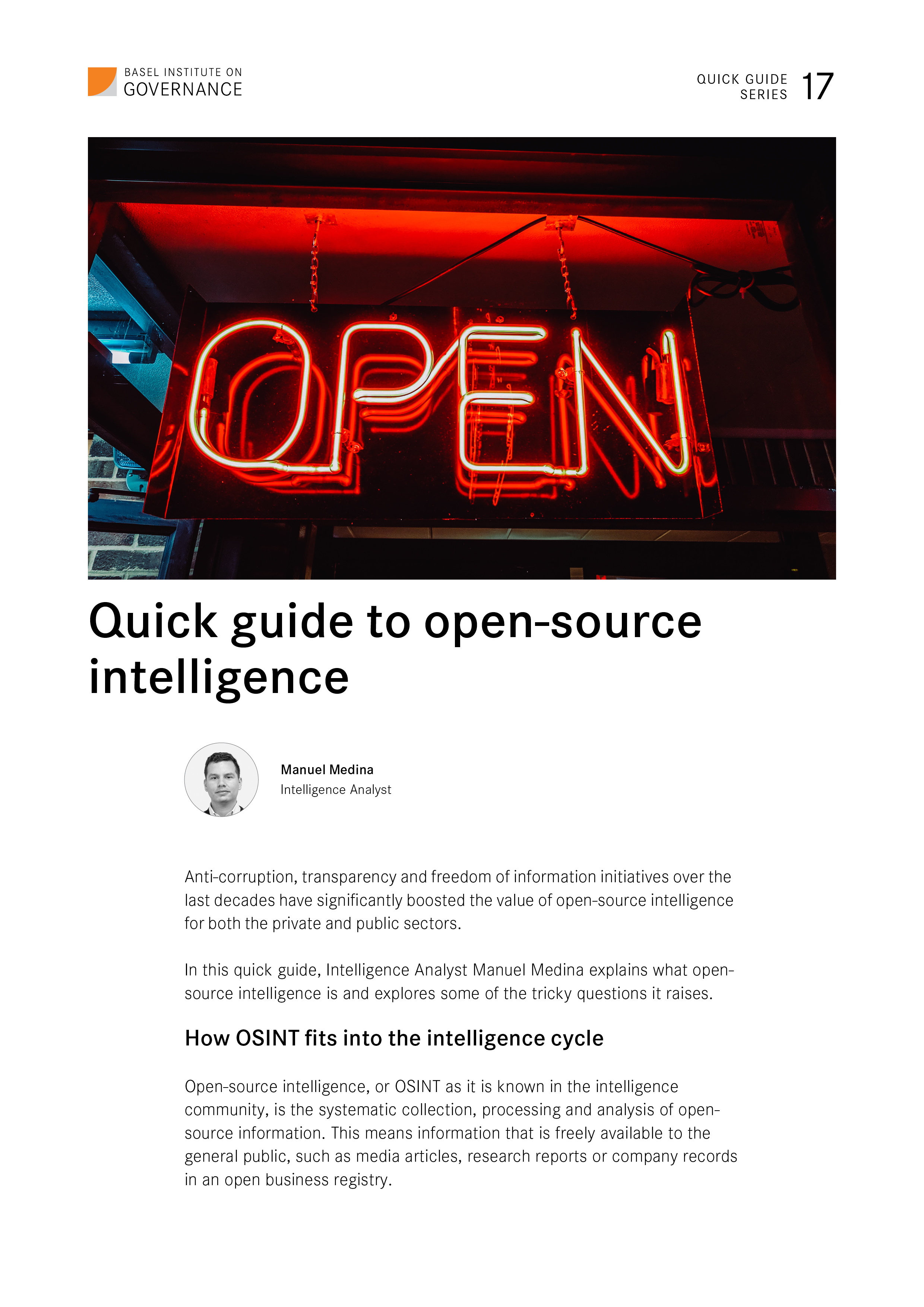 Quick guide 17: Open Intelligence