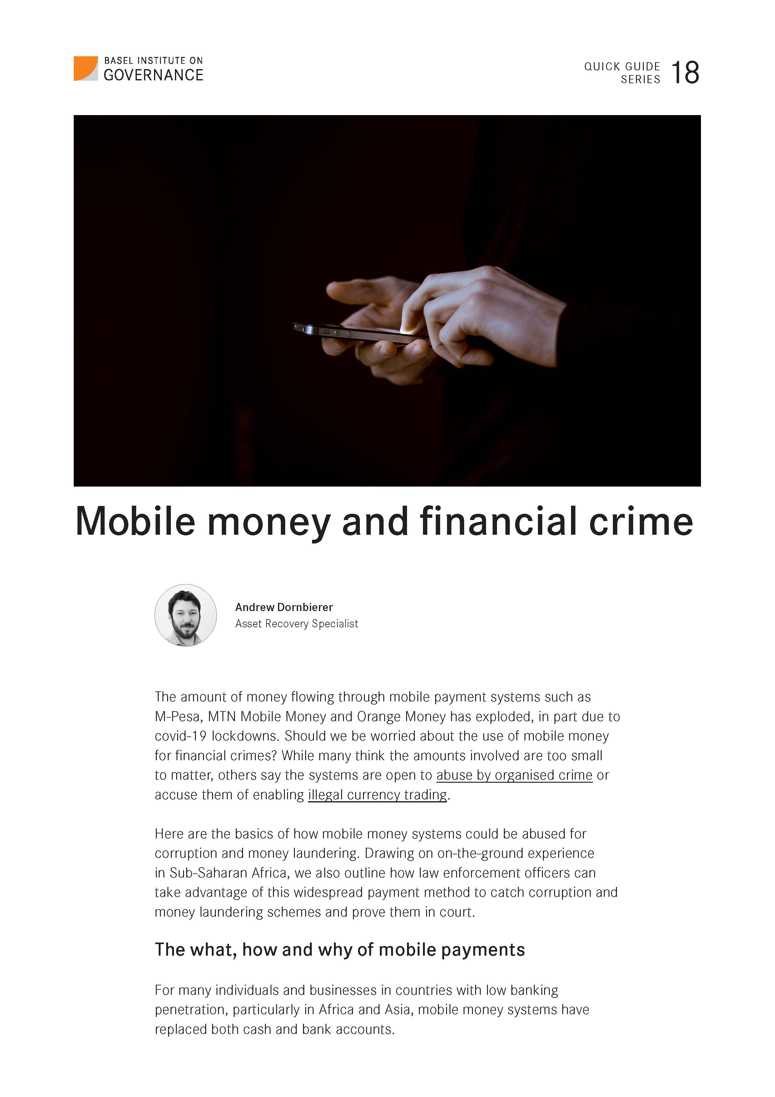 1st page of quick guide to mobile money and financial crime