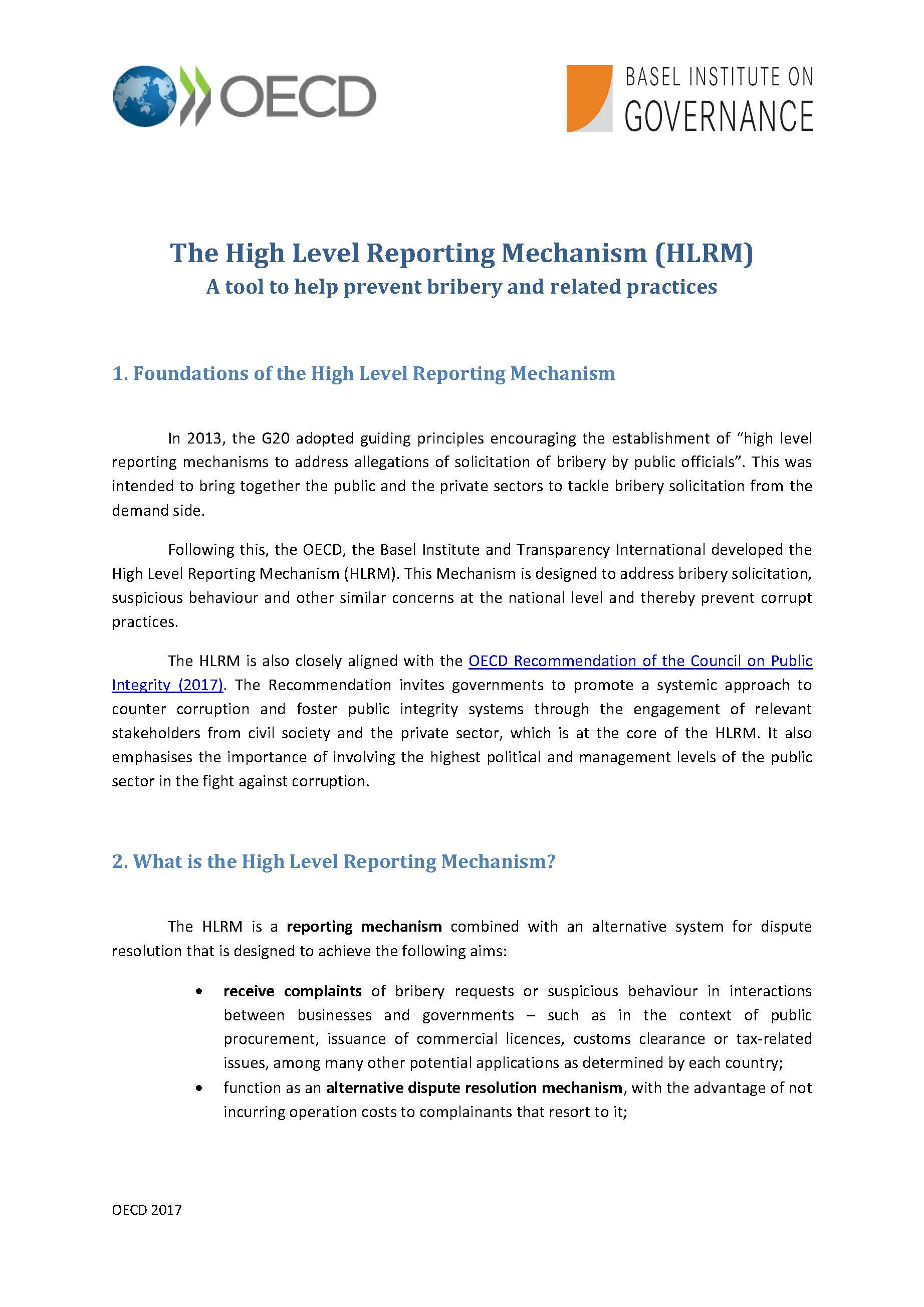 High Level Reporting Mechanism 2017 overview - page 1