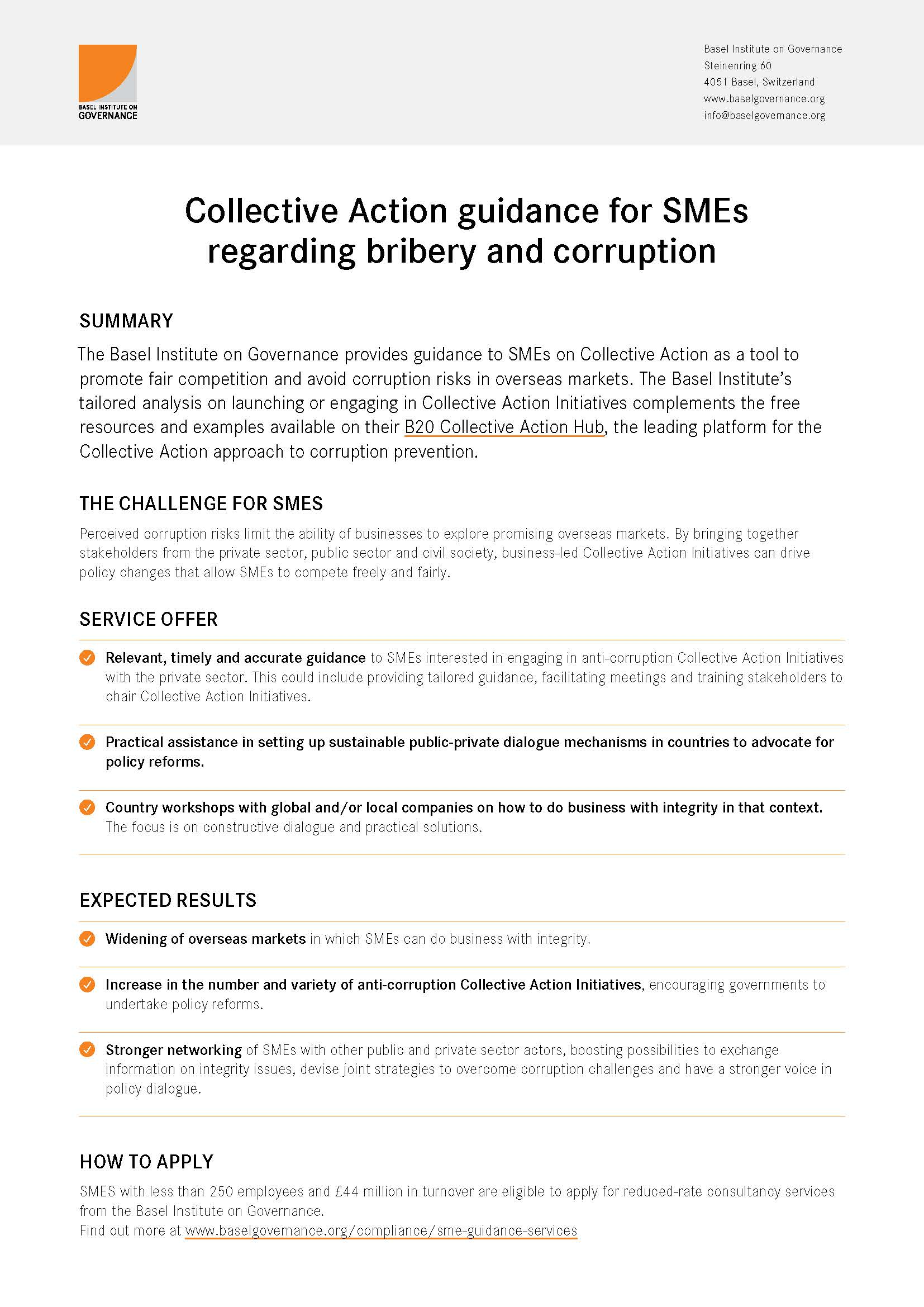 Collective Action guidance for SMEs flyer