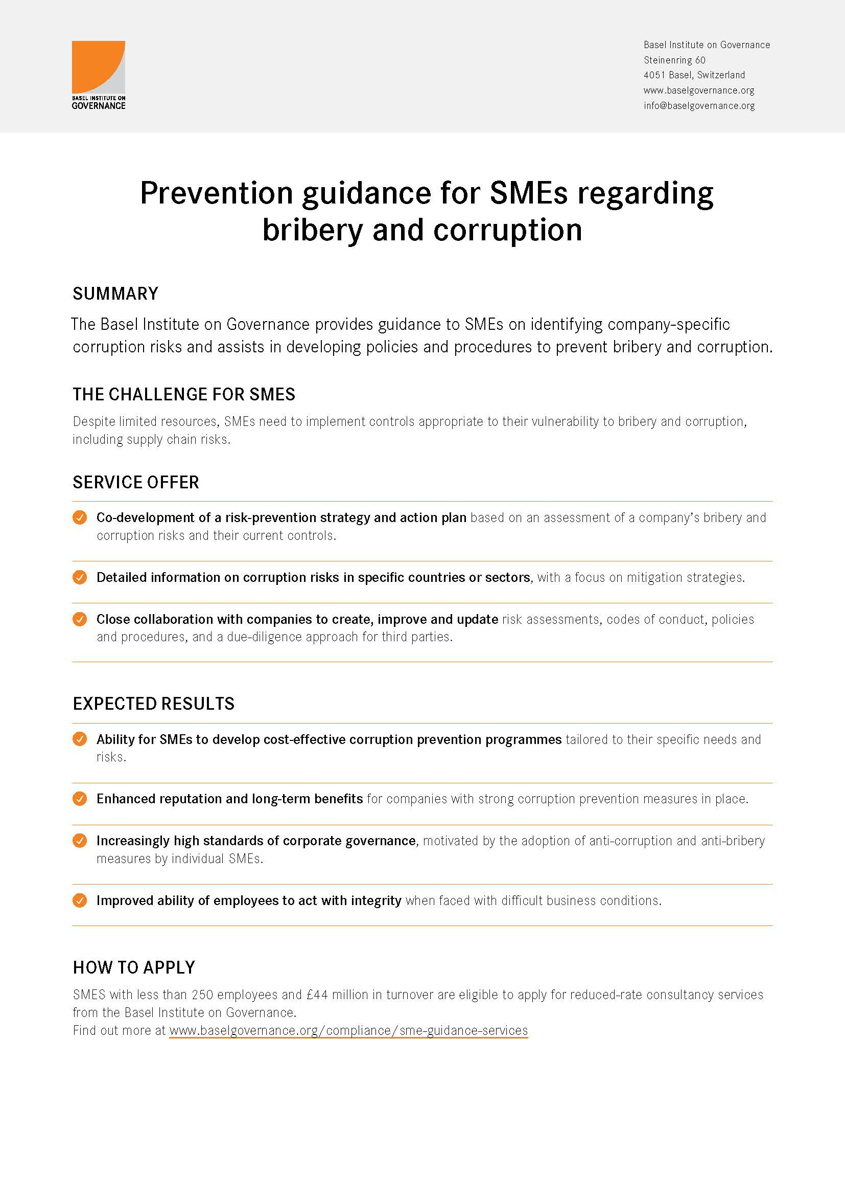 Prevention guidance for SMEs flyer