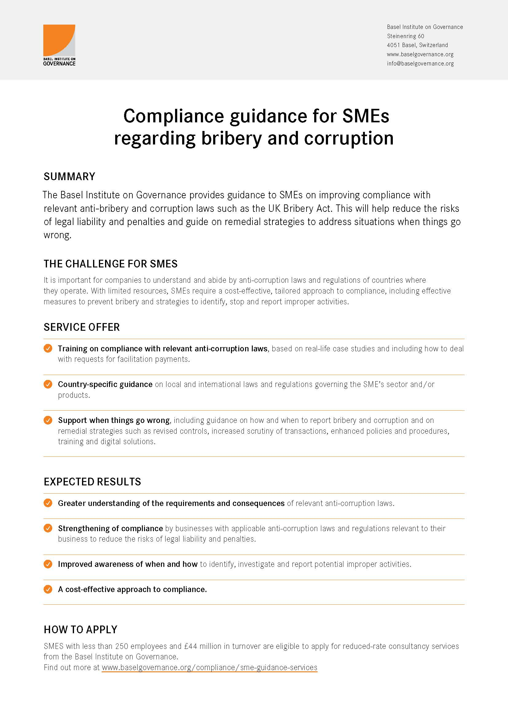 Compliance guidance for SMEs flyer