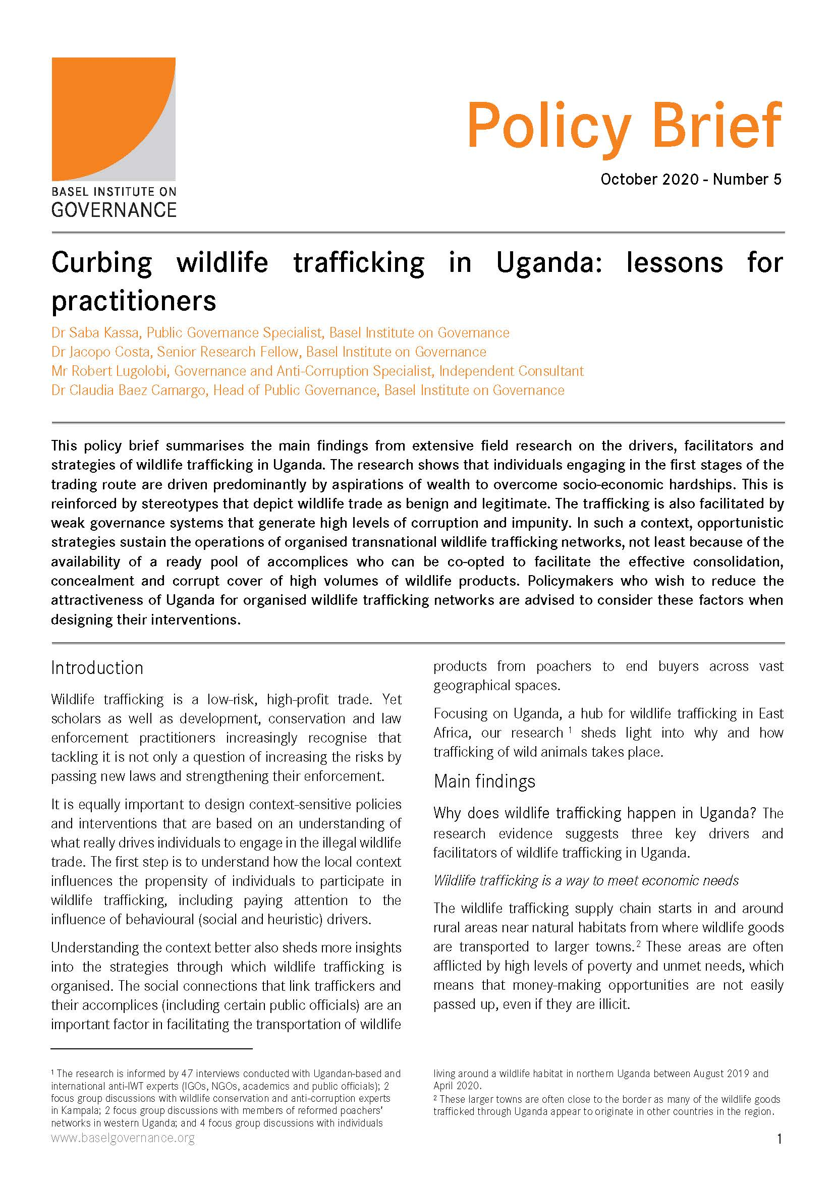 Policy brief - curbing wildlife trafficking in Uganda cover page
