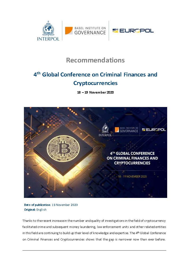 Cover page of Cryptocurrency Conference 2020 Recommendations