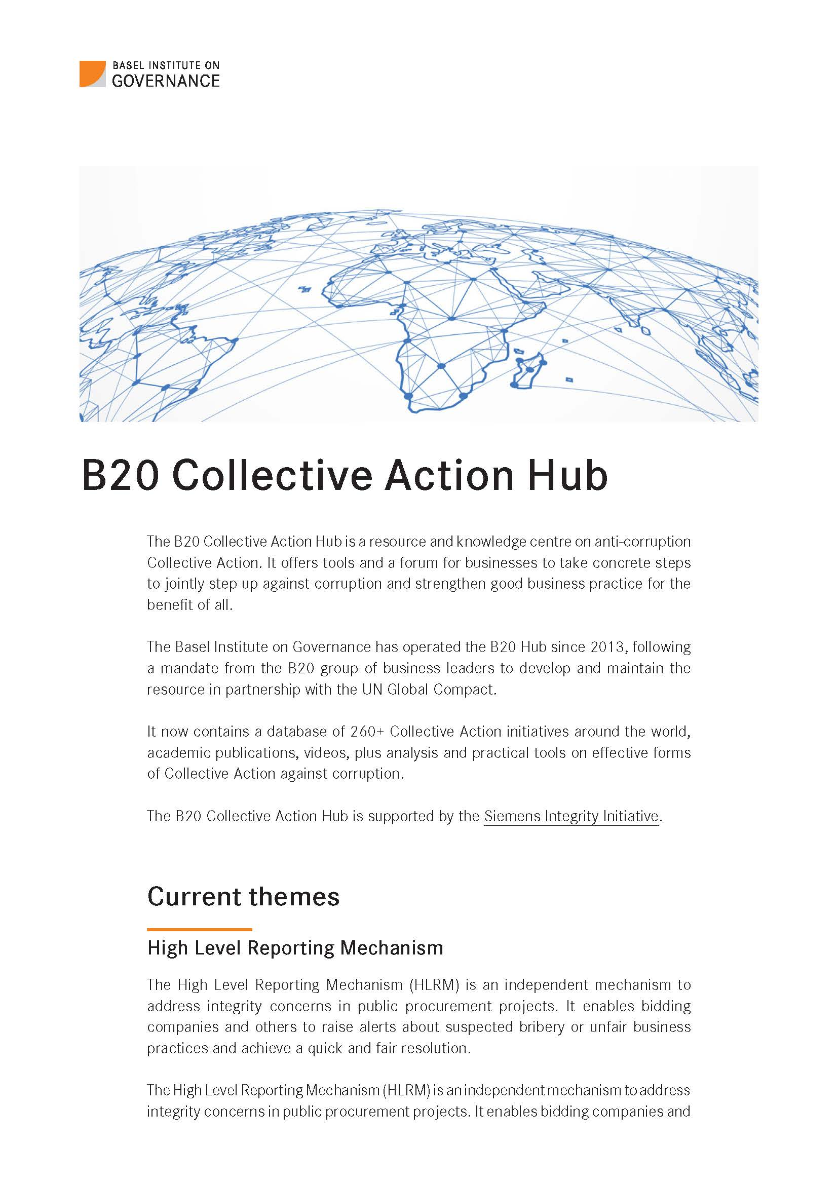 B20 Collective Action Hub flyer