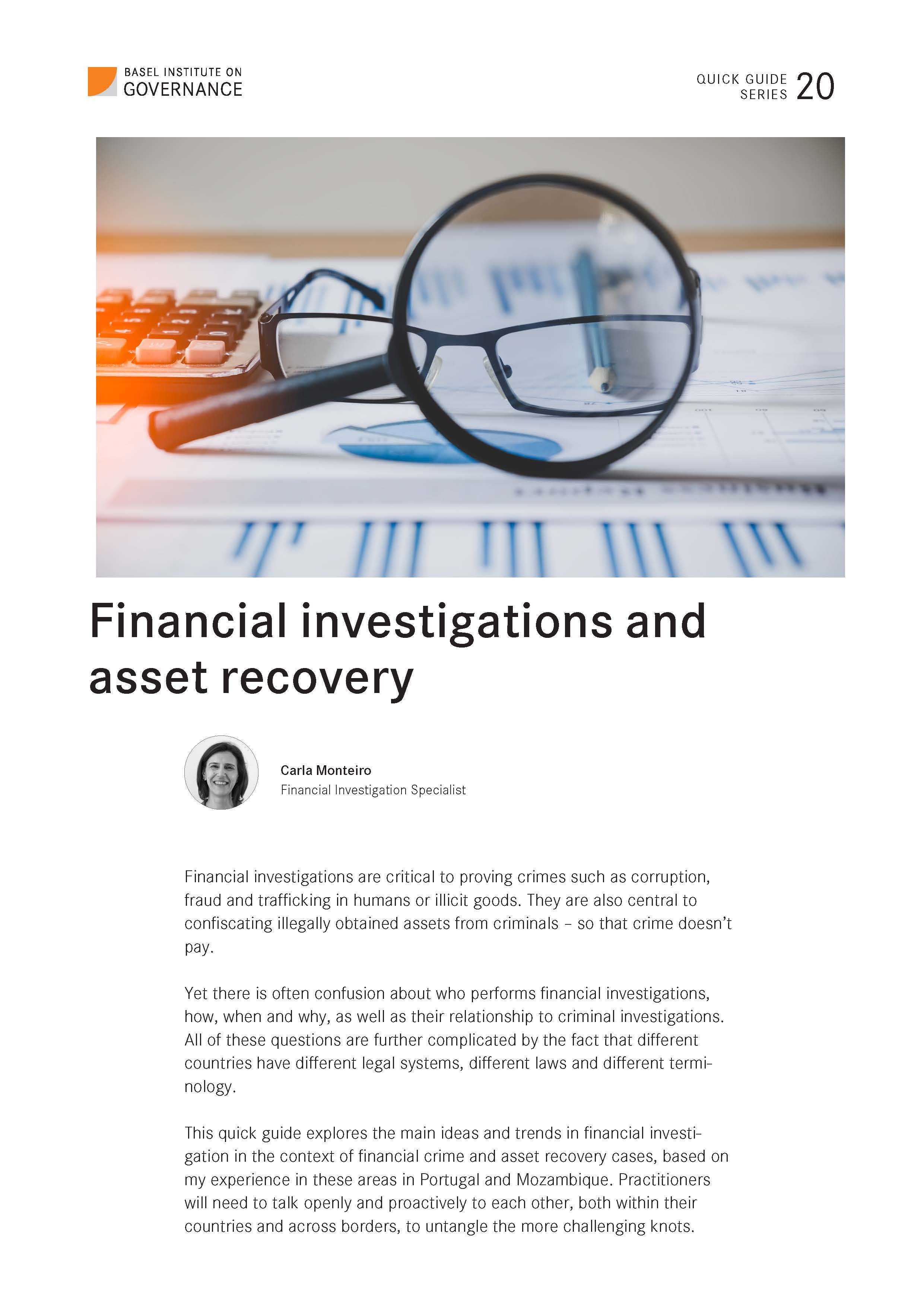 Cover page of Financial investigations and asset recovery guide