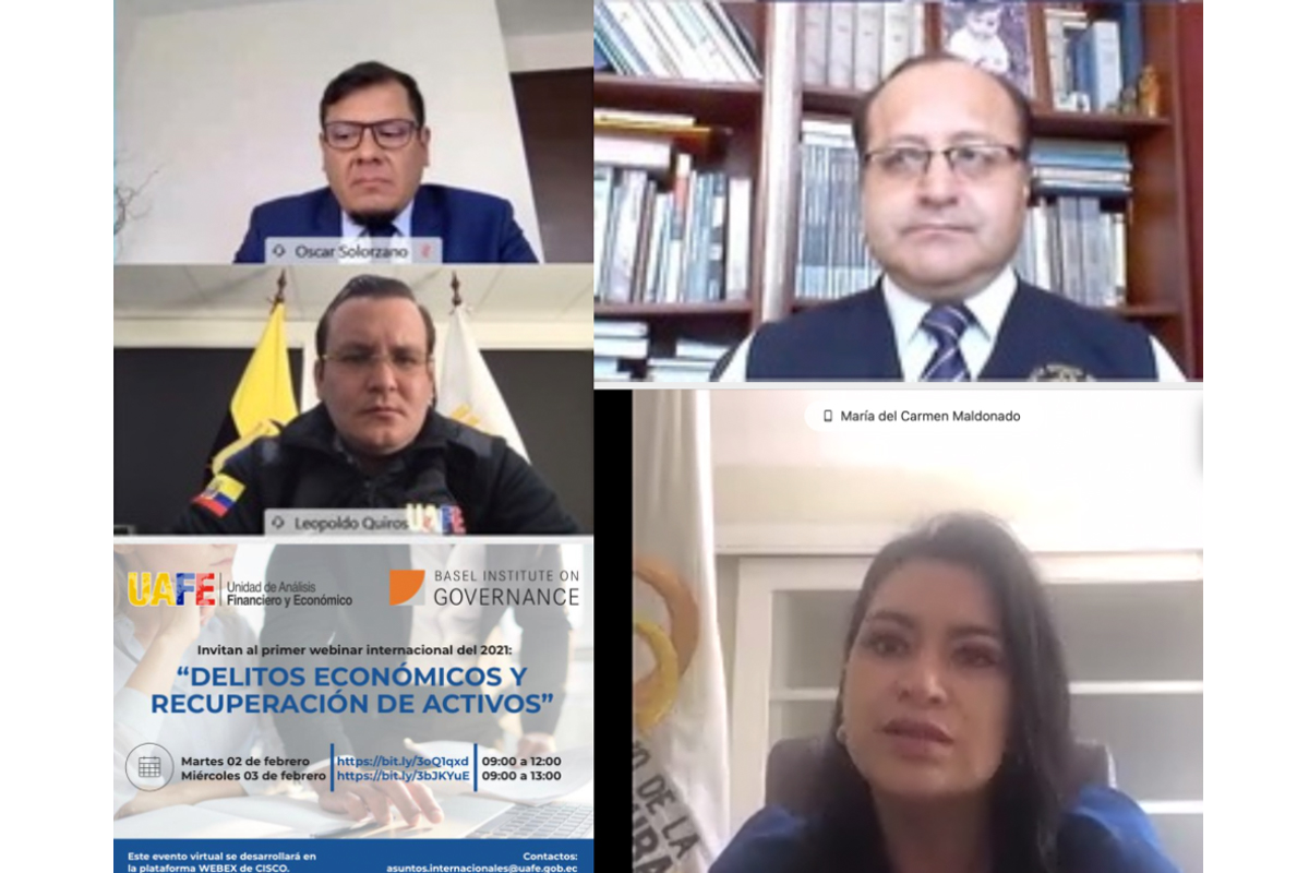 Collage of screenshots from a virtual seminar with the Basel Institute and Ecuadorian Financial and Economic Analysis Unit
