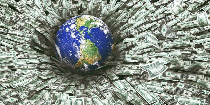 Green corruption - globe falling into a bed of dollars