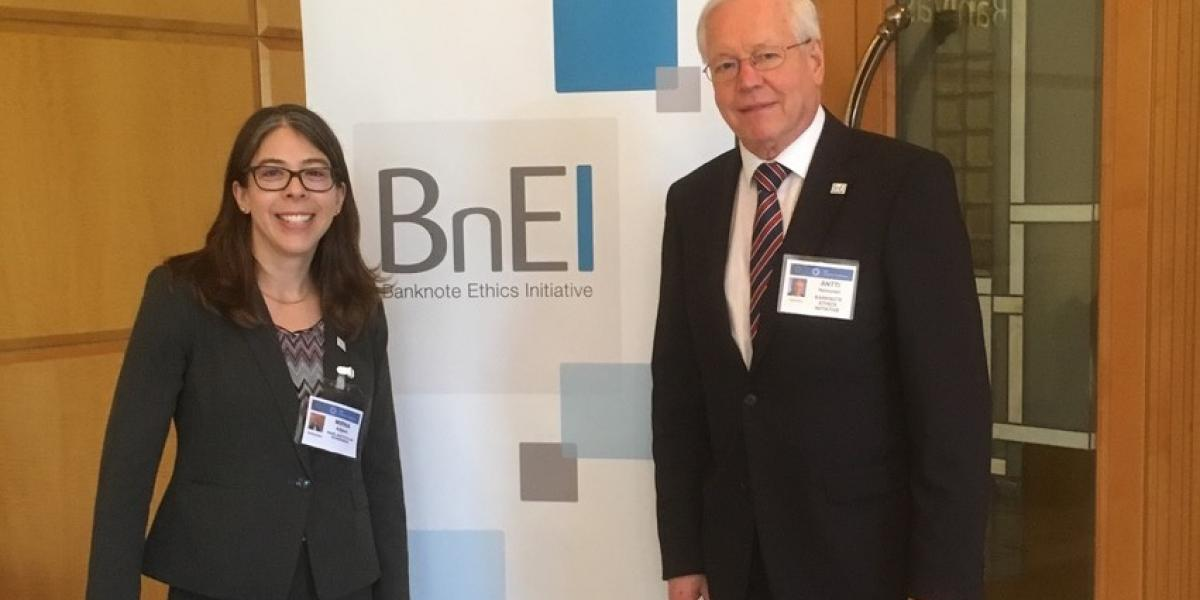 Mirna Adjami and Antti Heinonen, Chair of the Banknote Ethics Initiative