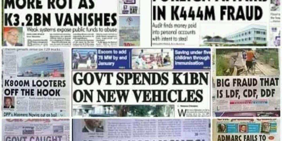 Collage of front pages of newspapers showing corruption headlines